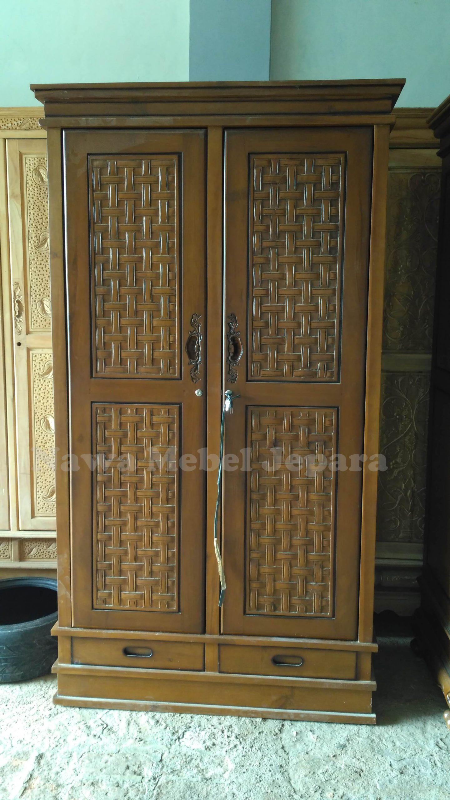 Almari Pakaian 2 pintu Ukir Model Rajut