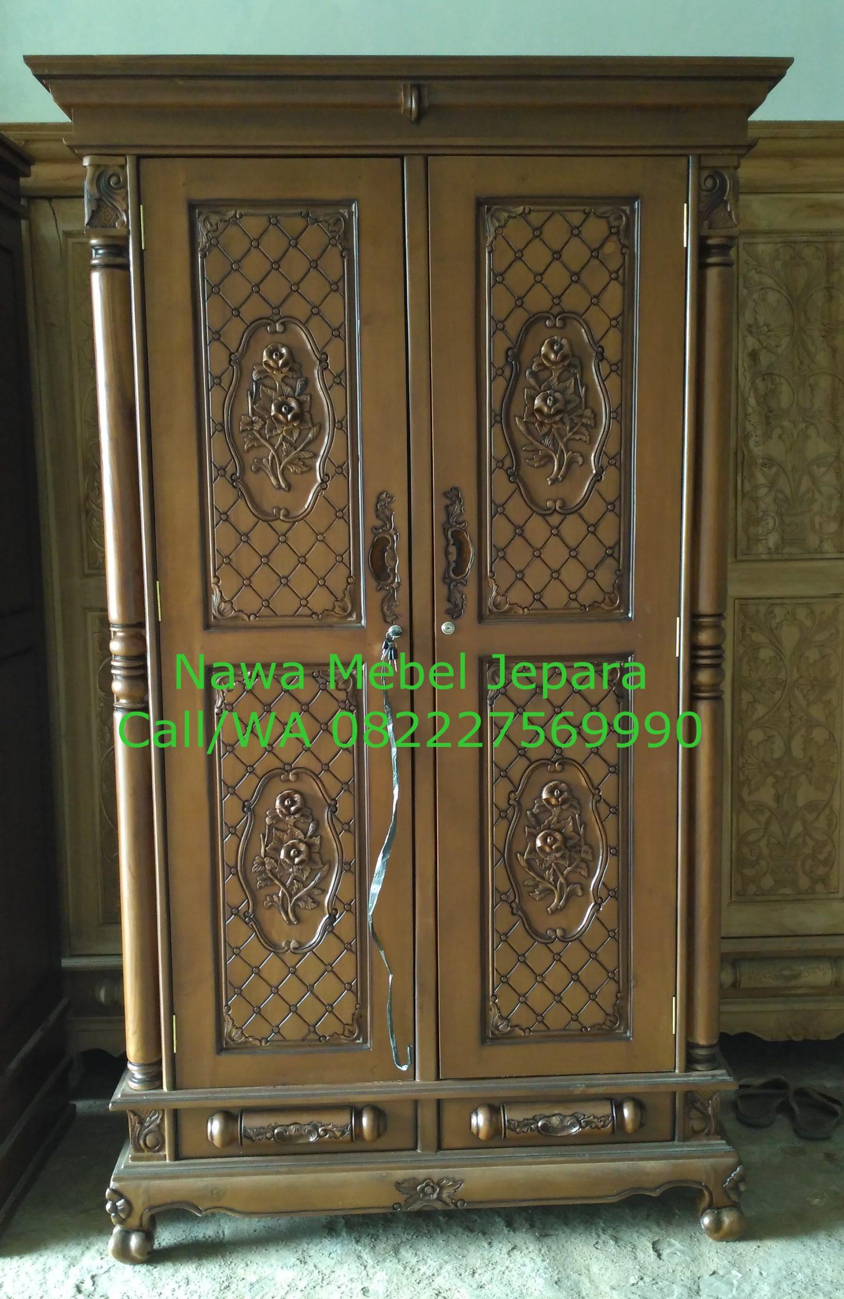 Almari Pakaian 2 pintu Ukir Terbaru