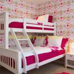 Kamar Tidur Tingkat Anak Perempuan Putih pink