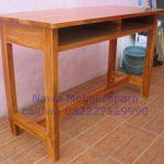 Meja Sekolah Panjang kayu Jati Finishing Natural