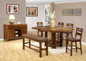 Set Meja dan Kursi Makan Kayu Jati Elegan Terbaru