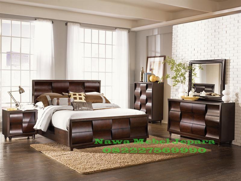 Set Kamar Tidur Minimalis Jati Model Lengkung