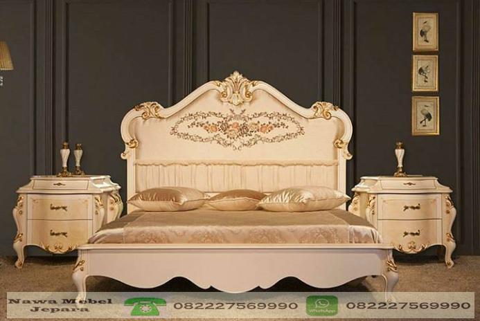 Tempat Tidur Pengantin Ukir Minimalis Duco Putih Terbaru