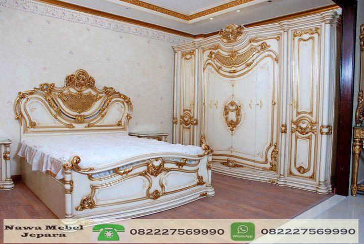 tempat tidur ukir dengan almari mewah nawa mebel