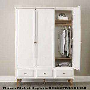 Lemari Pakaian Devon Putih 3 Pintu