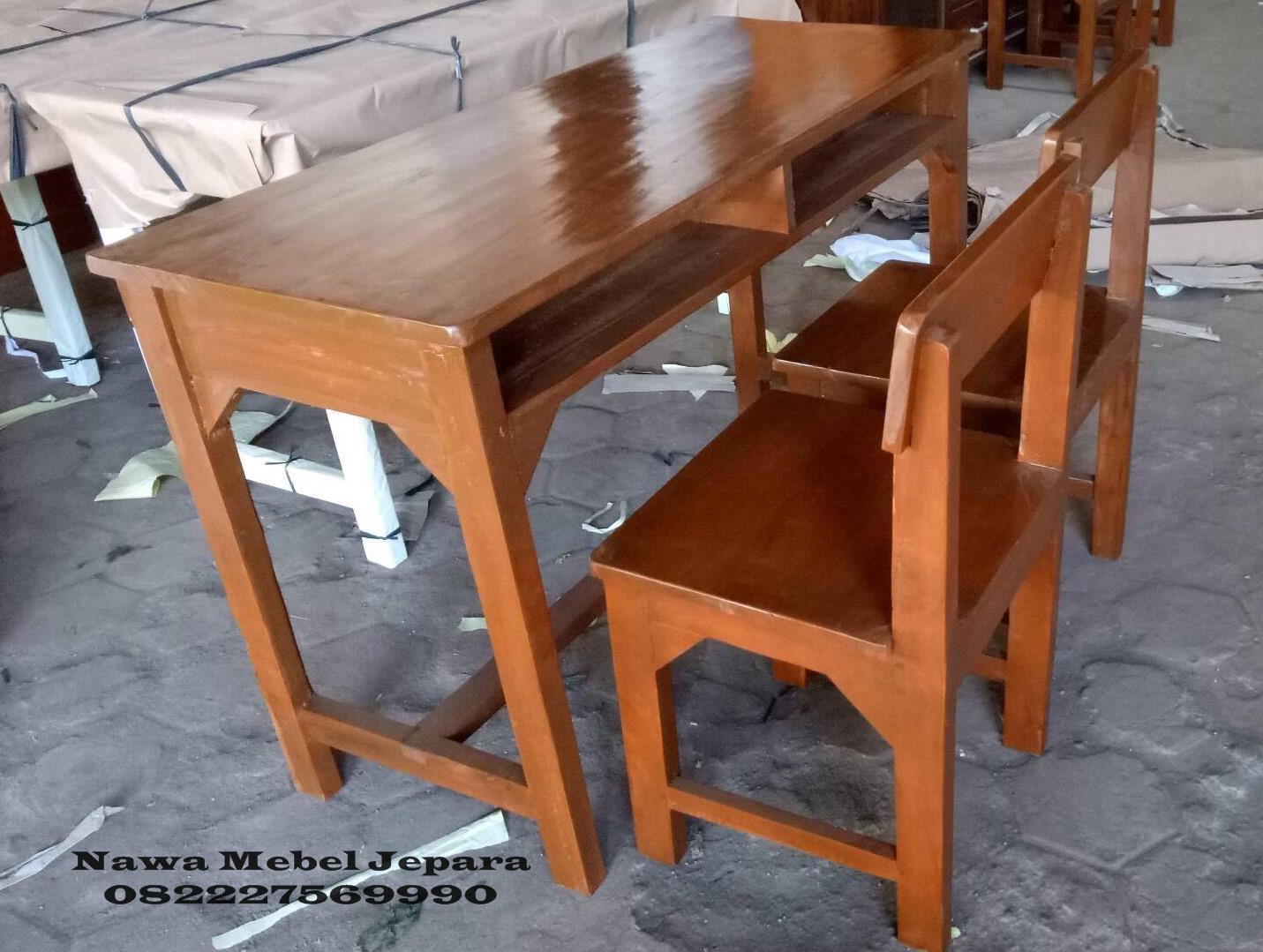 Meja-Kursi-sekolah-double-Jati-2 Jual Meja Kursi Sekolah Terbaru Jati Murah