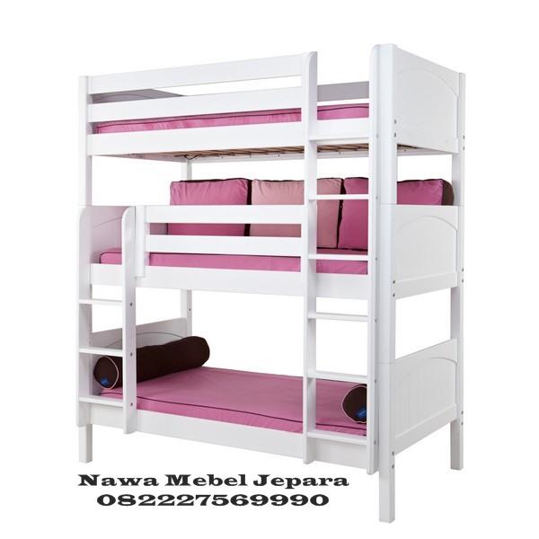 Tempat Tidur 3 Tingkat Putih Terbaru
