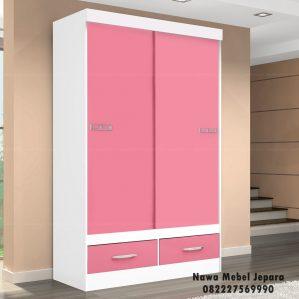 Jual Lemari Pakaian Anak Pintu Geser Warna Pink