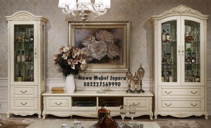 Gambar Meja Tv Lemari Hias Kaca Klasik Elegan