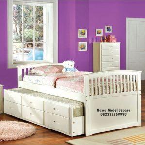 Tempat Tidur Anak Sorong Putih