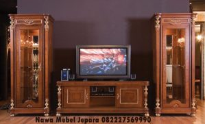Bufet Tv Lemari Kaca Jati Terbaru