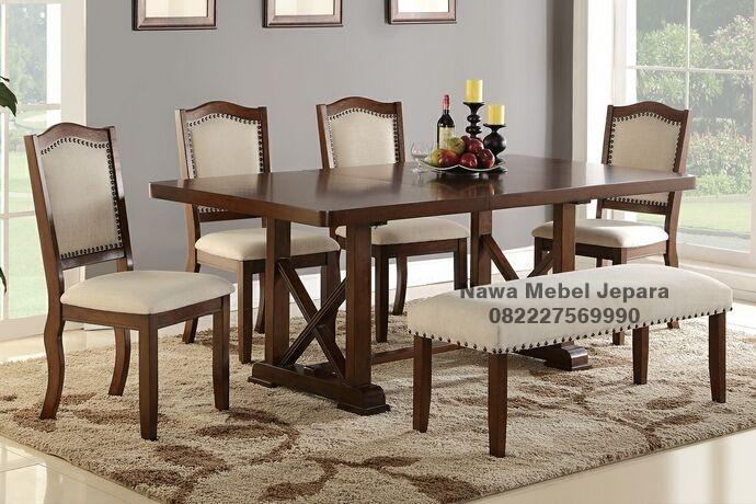 Harga Set Meja Makan Modern Jati NM-425