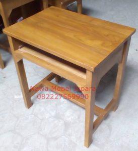 Meja Sekolah Kayu Jati Single finishing natural