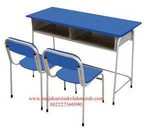 Set Meja Kursi Sekolah besi Double Tanpa Tebeng