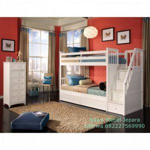 Kamar Tidur Anak Tangga Laci Duco Putih